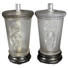A two dancers lamp by Marc Lalique