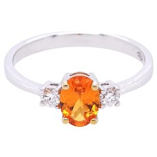 18K Gold Ring with Yellow Sapphire and White Diamonds