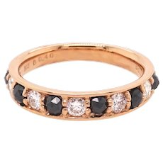18K Band Ring with Black and White Diamonds