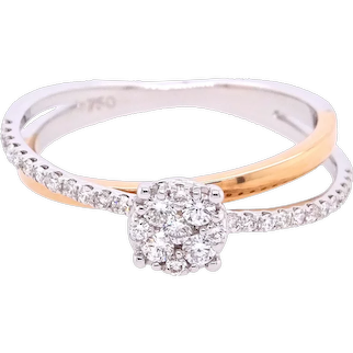 18K Gold Ring Two-Tone with White Diamonds