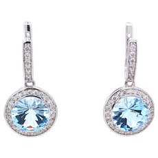14K Gold Earrings with White Diamonds and Blue Topaz