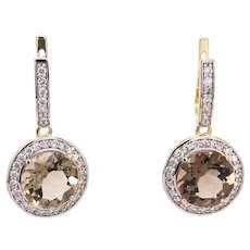 14K Gold Earrings with White Diamonds and Smoky Quartz