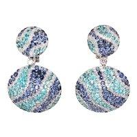 18K Gold Earrings with Tourmaline Paraiba, Sapphires and White Diamonds