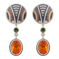 18K Yellow Gold Earrings with Black and White Diamonds, Sapphires, Tourmalines, and Fire Opals   Shield of the Maasai Earrings