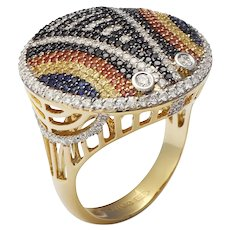 18K Yellow Gold Ring with Black and White Diamonds, Blue, Red and Yellow Sapphires   Shield of the Maasai Ring