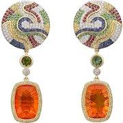 18K Yellow Gold Earrings with Diamonds, Sapphires, Tsavorites, Tourmalines and Fire Opal | Safari Sunrise Earrings