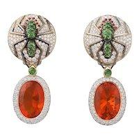 18K Gold Spider Earrings with White Diamonds, Red Sapphires, Tsavorites, Fire Opals   Green Huntsman Earrings