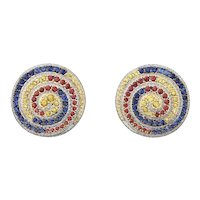 18K Yellow Gold Earrings with Diamonds and Sapphires   Circle of Life Earrings