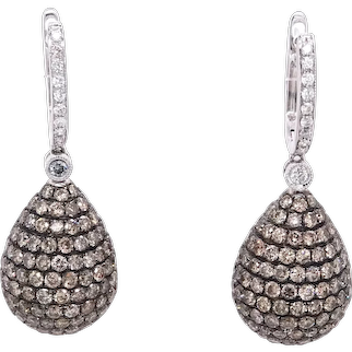 14K Gold Pear Shape Earrings with White and Brown Diamonds