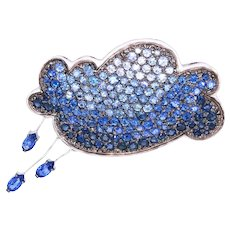 14K Gold Brooche with Blue and White Sapphires in a Form of a Cloud