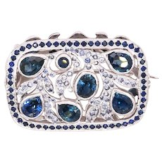 14K Gold Brooche with Mix Size Blue and Light Blue Sapphires