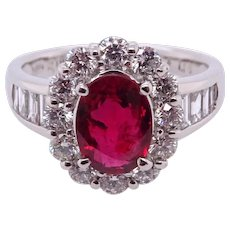 Ruby and Diamonds Platinum Ring