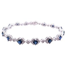 18K Gold Tennis Bracelet with Blue Sapphires and Diamonds