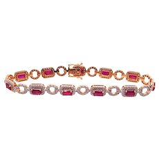 18K Gold Tennis Bracelet with Rubies and Diamonds