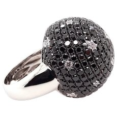 14K Gold Ring with Black and White Diamonds