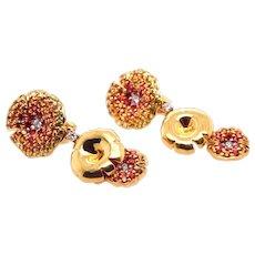18K Gold Flower Earrings with Diamonds, Sapphires, Spessartines.