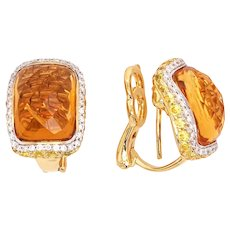 18K Gold Earrings with Citrines, White Diamonds, and Yellow Sapphires