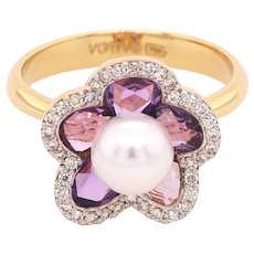 18K Gold Flower Ring with Uncut Purple Sapphires, White Diamonds and Pearl