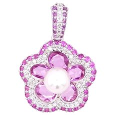 18K Gold Flower Pendant with Uncut and Round Pink Sapphires, White Diamonds, and a Single Pearl