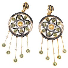 18K Gold Earrings with Black and White Diamonds, Grey and Yellow Sapphires