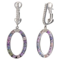 18K Gold Earrings with Diamonds and Multi-Color Sapphires