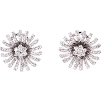 14K Gold Earrings with White Diamonds