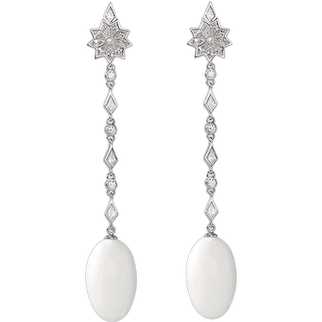 18K White Gold Earrings with White Round and Fancy Cut Diamonds, and Natural Pearls   Angel Star Earrings