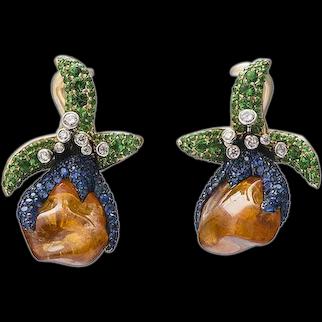 18K Gold Earrings with Uncut Orange Garnet, Blue Sapphires and Tsavorites