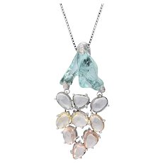 18K Gold Pendant with Uncut Aquamarine and Multi-Color Sapphires, with White Diamonds