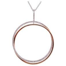 14K Gold Circle Pendant with White Diamonds