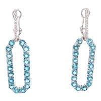 18K White Gold Earrings with White Diamonds an Natural Blue Zircon   Infinite Chance Earrings