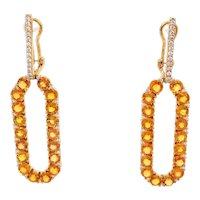 18K Yellow Gold Earrings with White Diamonds and Yellow Sapphires   Infinite Chance Earrings