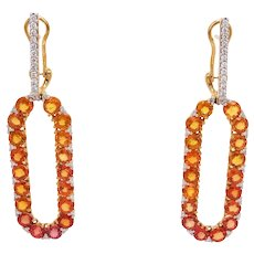 Infinite Chance Earrings with Orange Sapphires