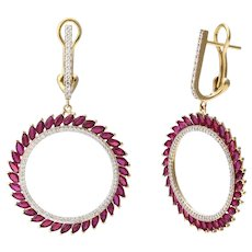 18K Gold Twist of Fate Earrings with Rubies and Diamonds
