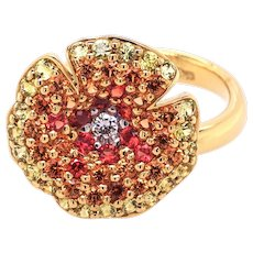 18K Gold Flower Ring with Diamonds and Sapphires