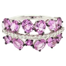 Pink Oval Sapphires and Diamonds Ring