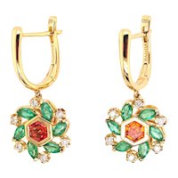 18K Earrings with Brown Diamonds, Emeralds, and Orange Sapphires   Cherry Twist Earrings