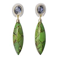 18K Gold Earrings with White and Yellow Diamonds, Turquoise, and Uncut Blue Sapphire   Moonlit Pines Earrings