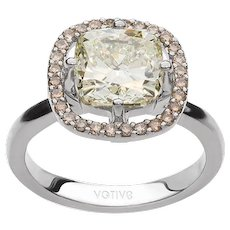 18K Gold Engagement Ring with Light Yellow Cushion Centre Diamond and Accent Brown Diamonds   Love Story Ring