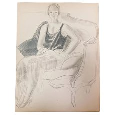 ORIGINAL design in pencil on paper by Edward Buk Ulreich (1884-1966)
