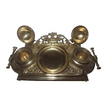 Large French Brass 18 Century Style Inkwell