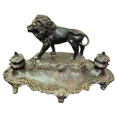"Beautiful French Art Nouveau Lion Ink Well signed ""A. Bossu"""