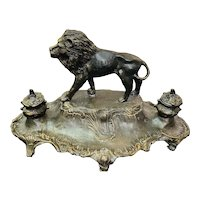 "Beautiful French "" 19th Century Art Nouveau Spelter Bronze Color LION INK WELL signed  A. BOSSU"