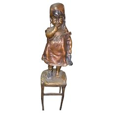 "Juan Clara (Spanish 1875-1957) An Original Bronze Sculpture of a Young girl on a Stool ""(Suzette)"" Circa 1910-1920"