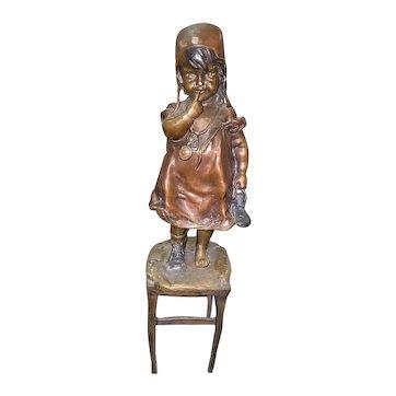 """Juan Clara """"A girl (Suzette)"""" Bronze Sculpture"""