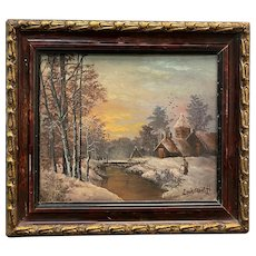 Dutch Winter Landscape Oil on Board By Louis Apol (19th Century)