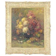 "Louis Bonamici (1878-1966) ""Chrysanthemums"" - Vintage Large Oil on Canvas.  (Circa 1950's)"
