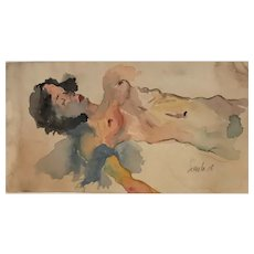 Egon Schiele, Austrian (1890-1918) Reclining Woman Original Painting. (watercolor, gouache and pencil) Signed l.r. 1916