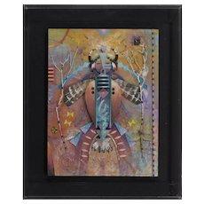 TOM PERKINSON (American, b. 1940). Shaman I Mixed media sculpture on Board