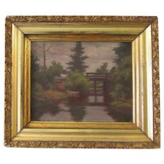 Beautiful painting depicts forest scene with a bridge from early 20th century